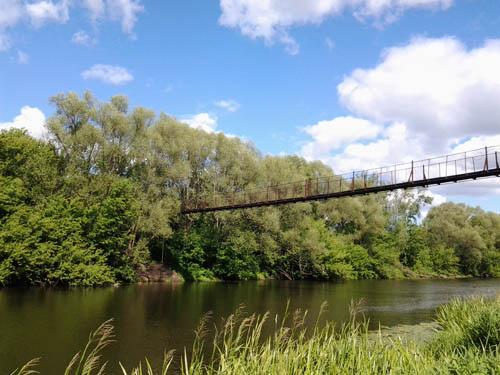 Вид на мост с берега реки Дон
